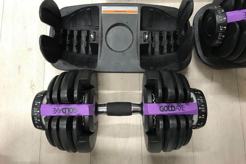 可変式ダンベルが筋肉量で調節可能